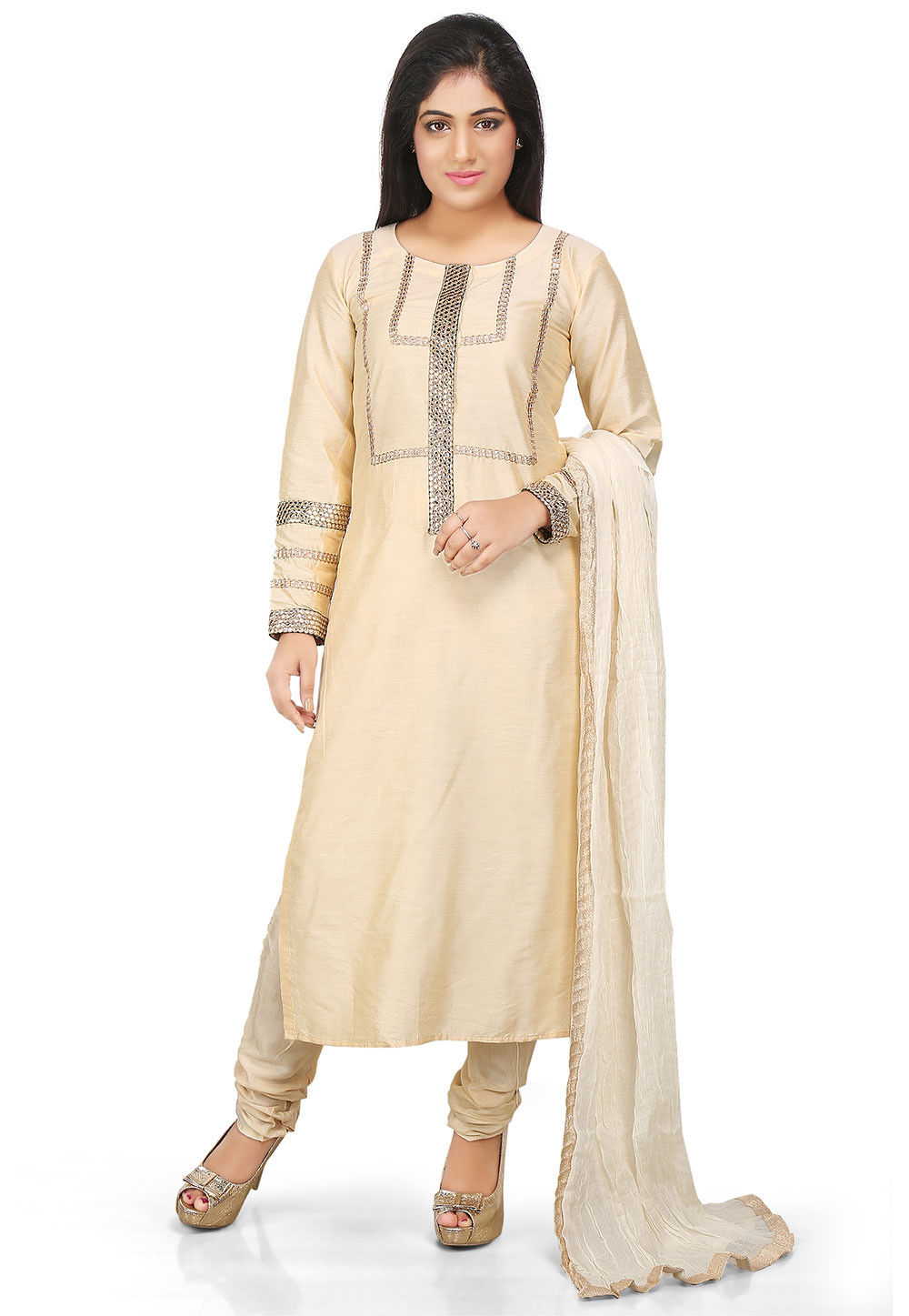 Embroidered Cotton Silk Straight Cut Suit in Beige
