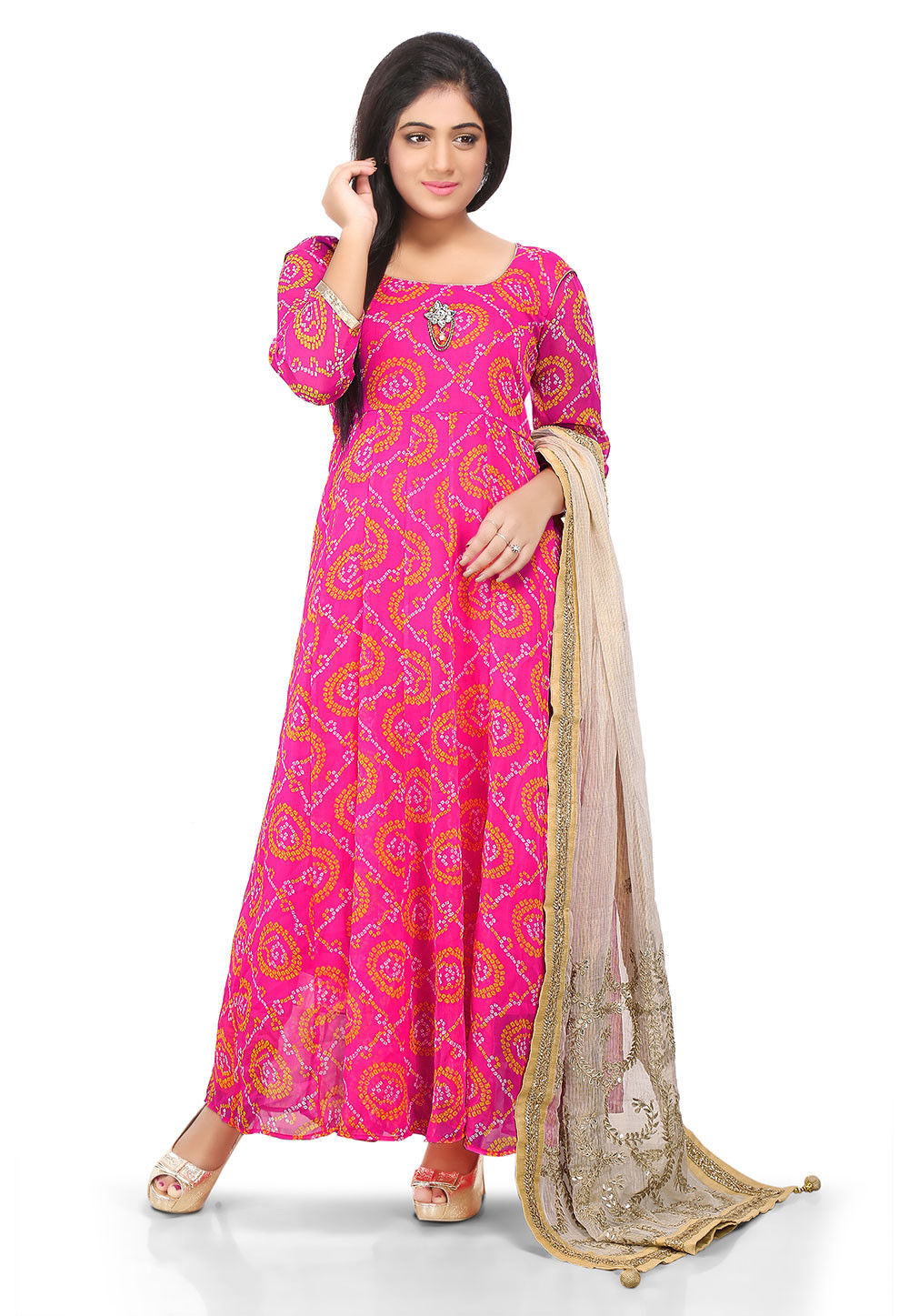 Printed Georgette Abaya Style Suit in Fuchsia