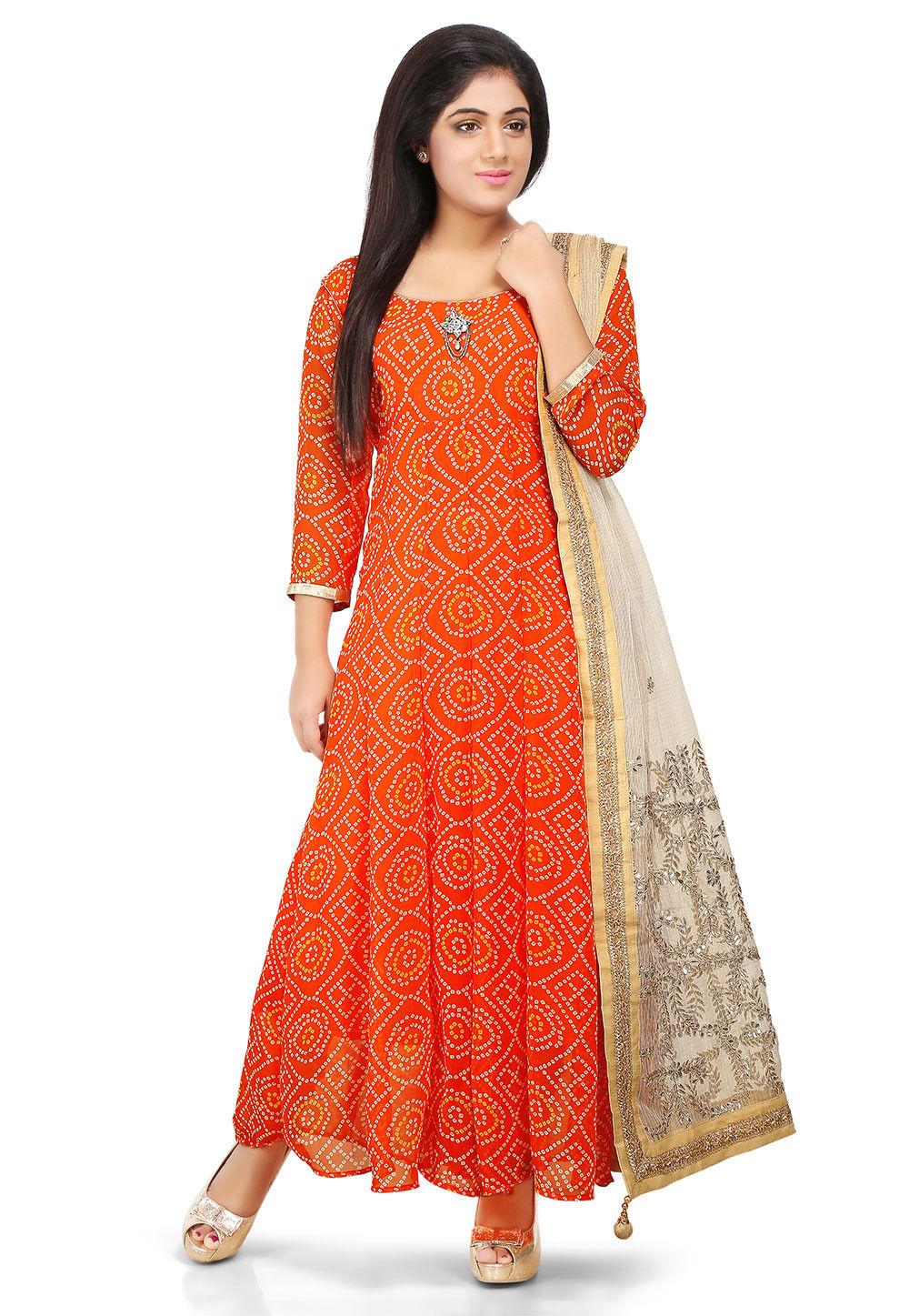 Printed Georgette Abaya Style Suit in Orange