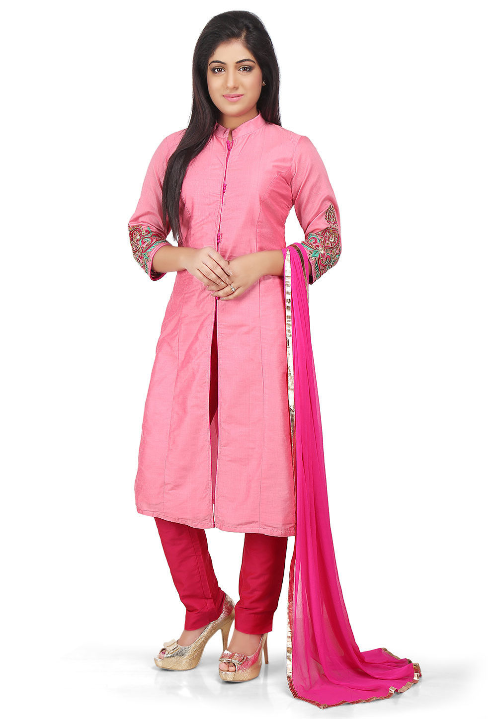 Plain Cotton Silk Pakistani Suit in Pink