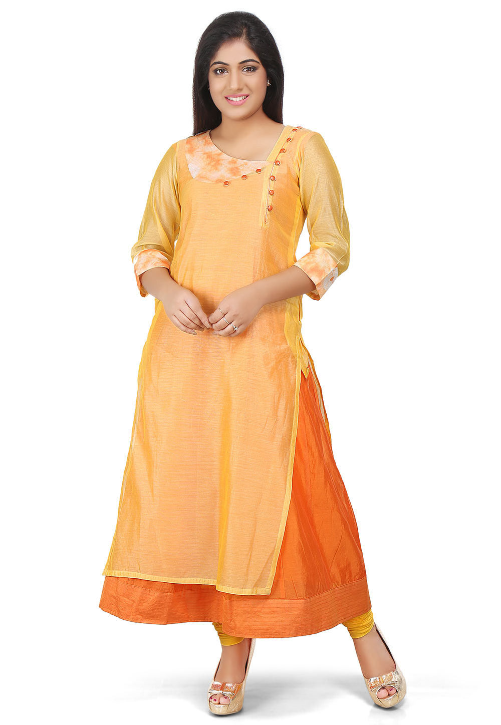 Plain Cotton Chanderi Anarkali Suit in Yellow and Orange