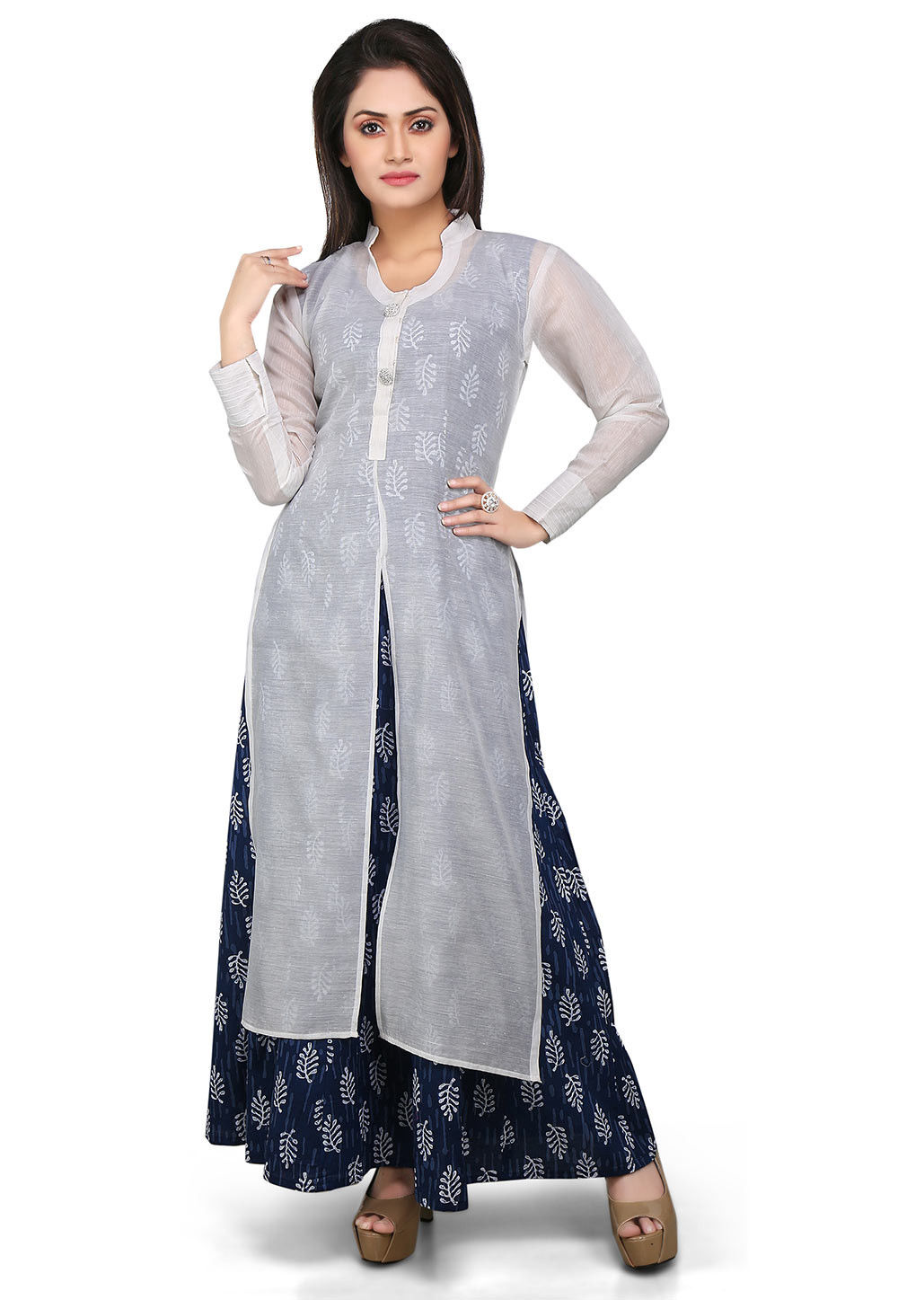 Block Printed Cotton Chanderi Abaya Suit in White and Blue