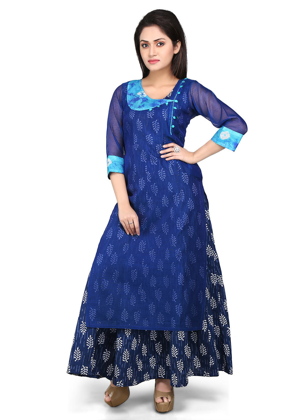 Block Printed Double Layered Abaya Cotton Chanderi Suit in Blue