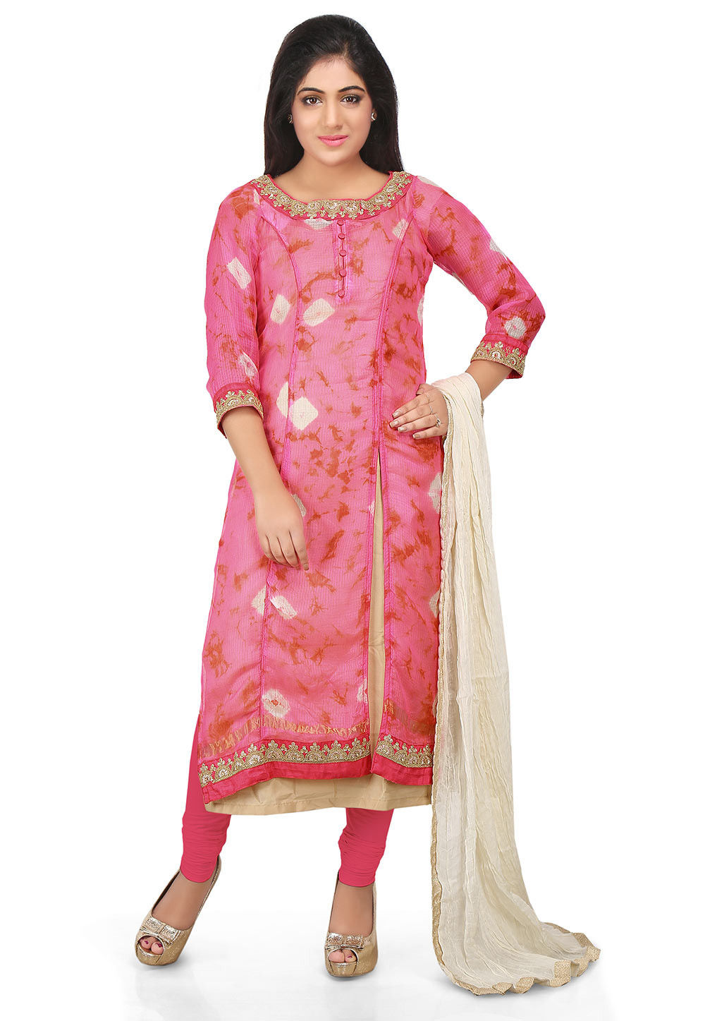 Printed Pure Kota Silk Straight Cut Suit in Pink