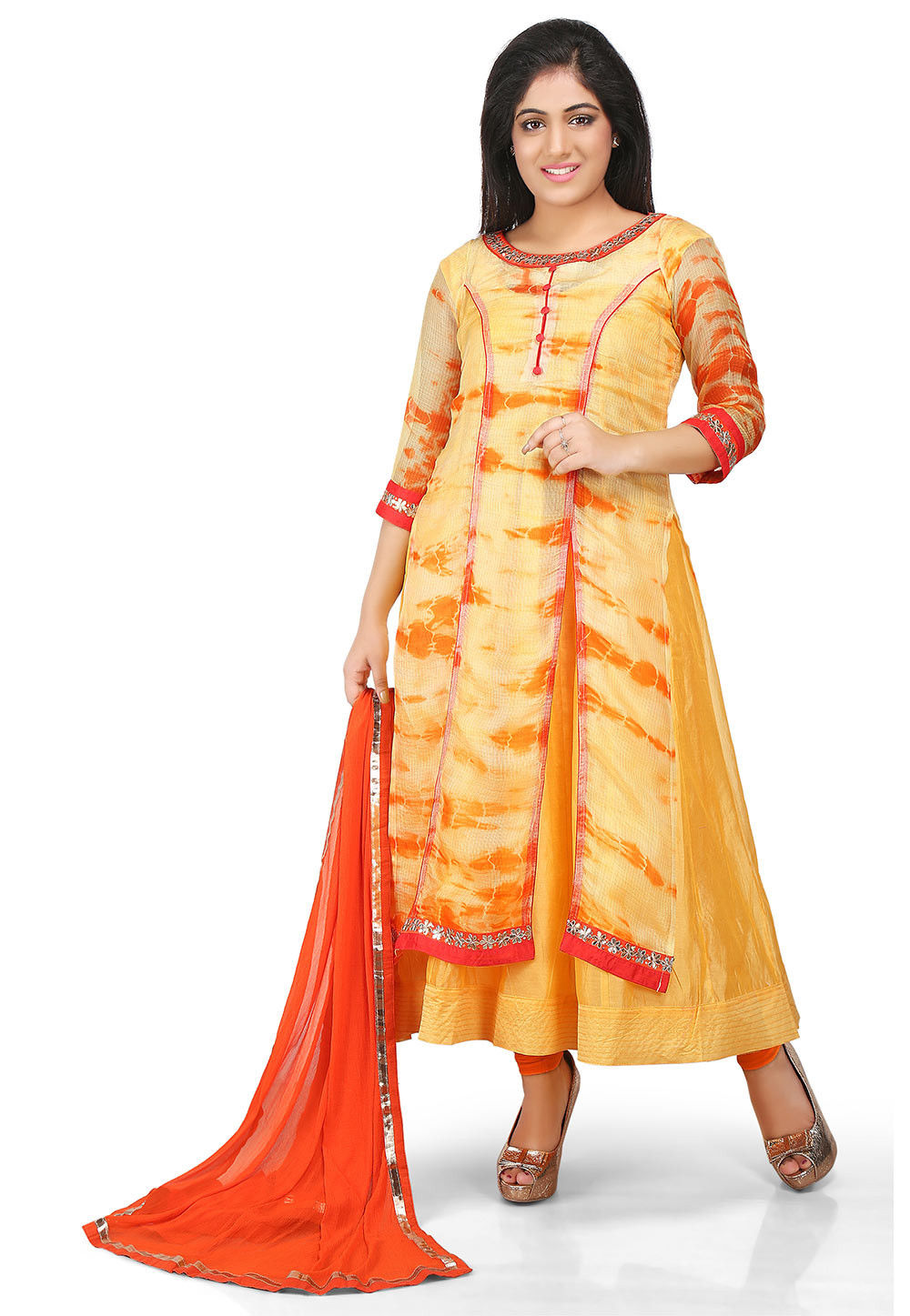 Printed Cotton Chanderi Double Layered Anarkali Suit in Yellow