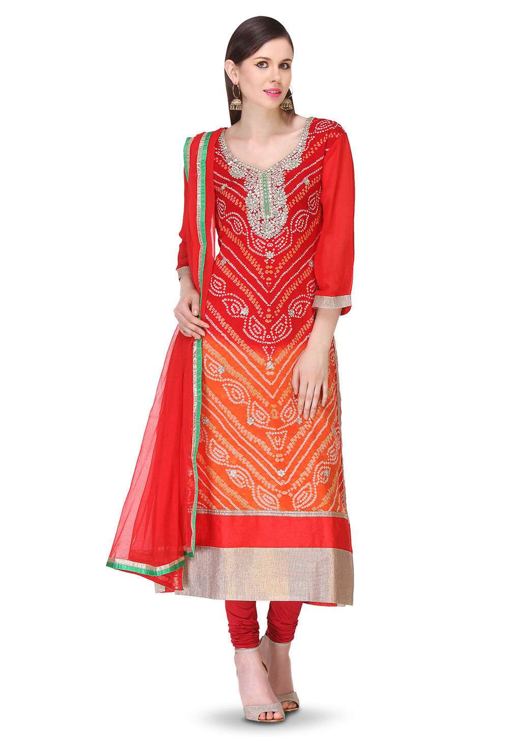 Pure Chinon Crepe Bandhej Straight Suit in Ombre Red and Orange