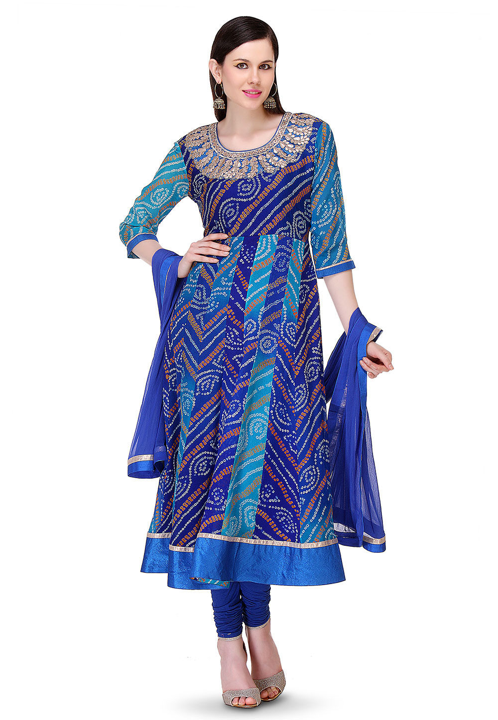 Bandhej Printed Pure Chinon Crepe Anarkali Suit in Blue