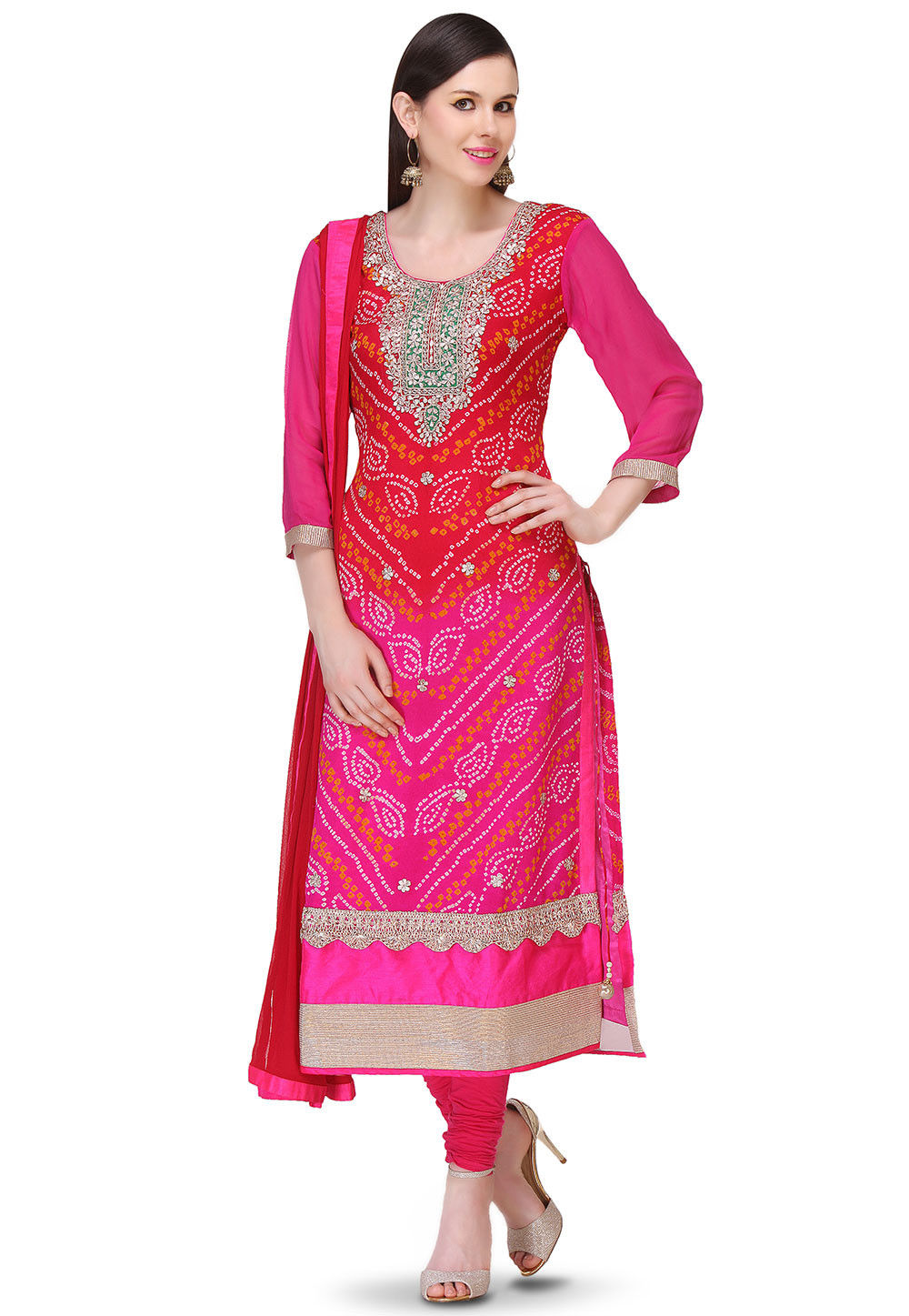 Bandhej Pure Chinon Crepe Straight Cut Suit in Red and Fuchsia