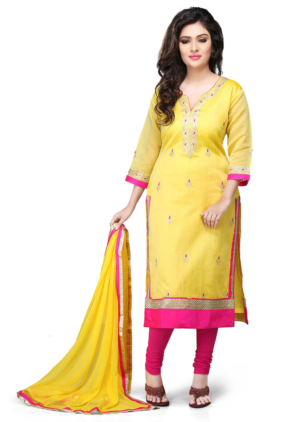 Embroidered Cotton Chanderi Straight Cut Suit in Yellow