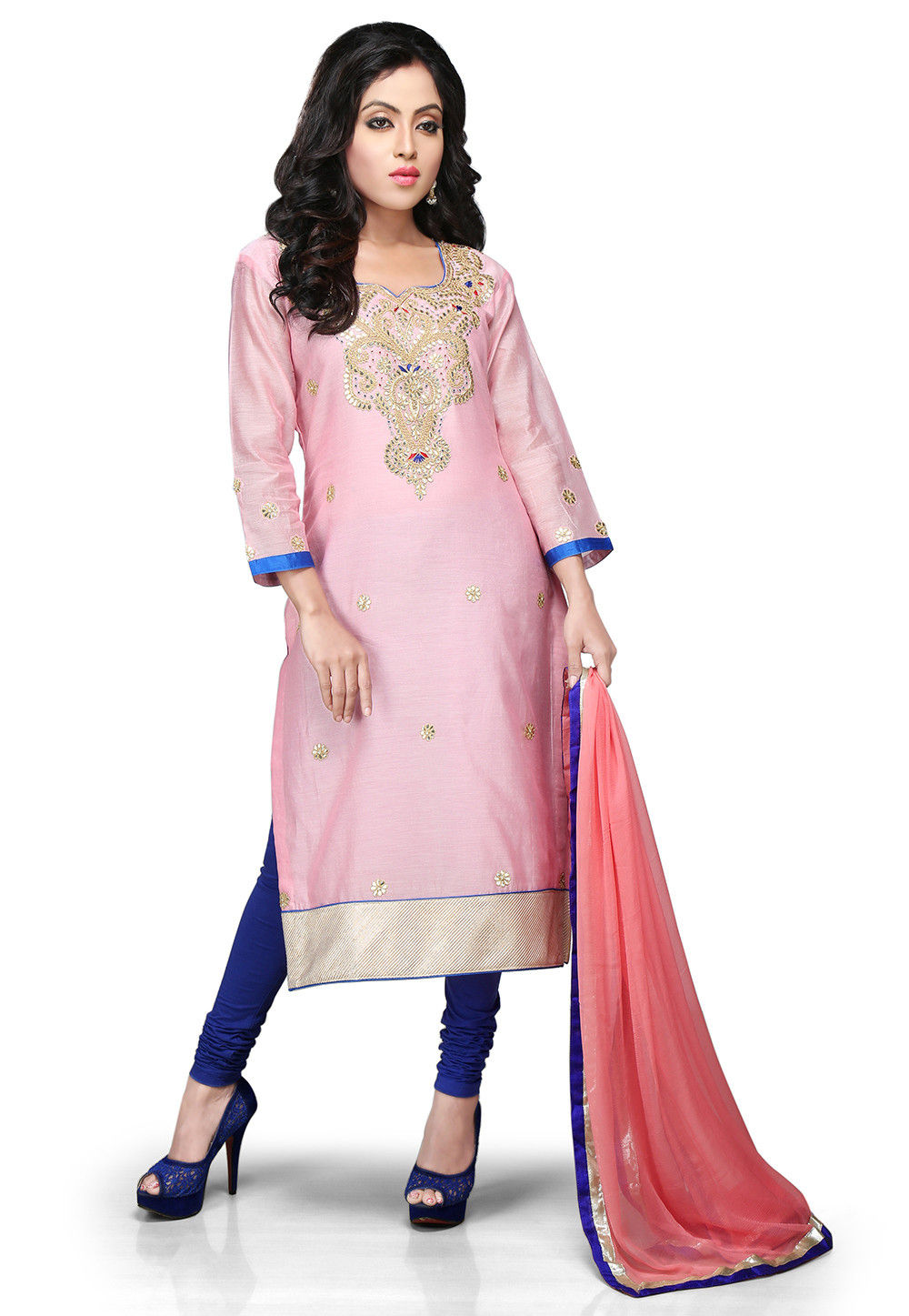 Embroidered Cotton Chanderi Straight Cut Suit in Baby Pink