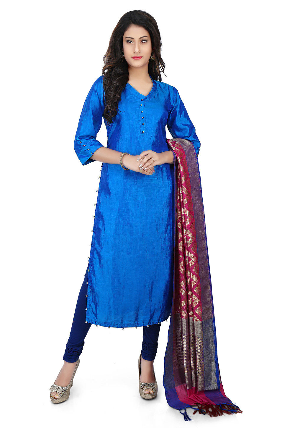 Banarasi Silk Straight Suit in Blue