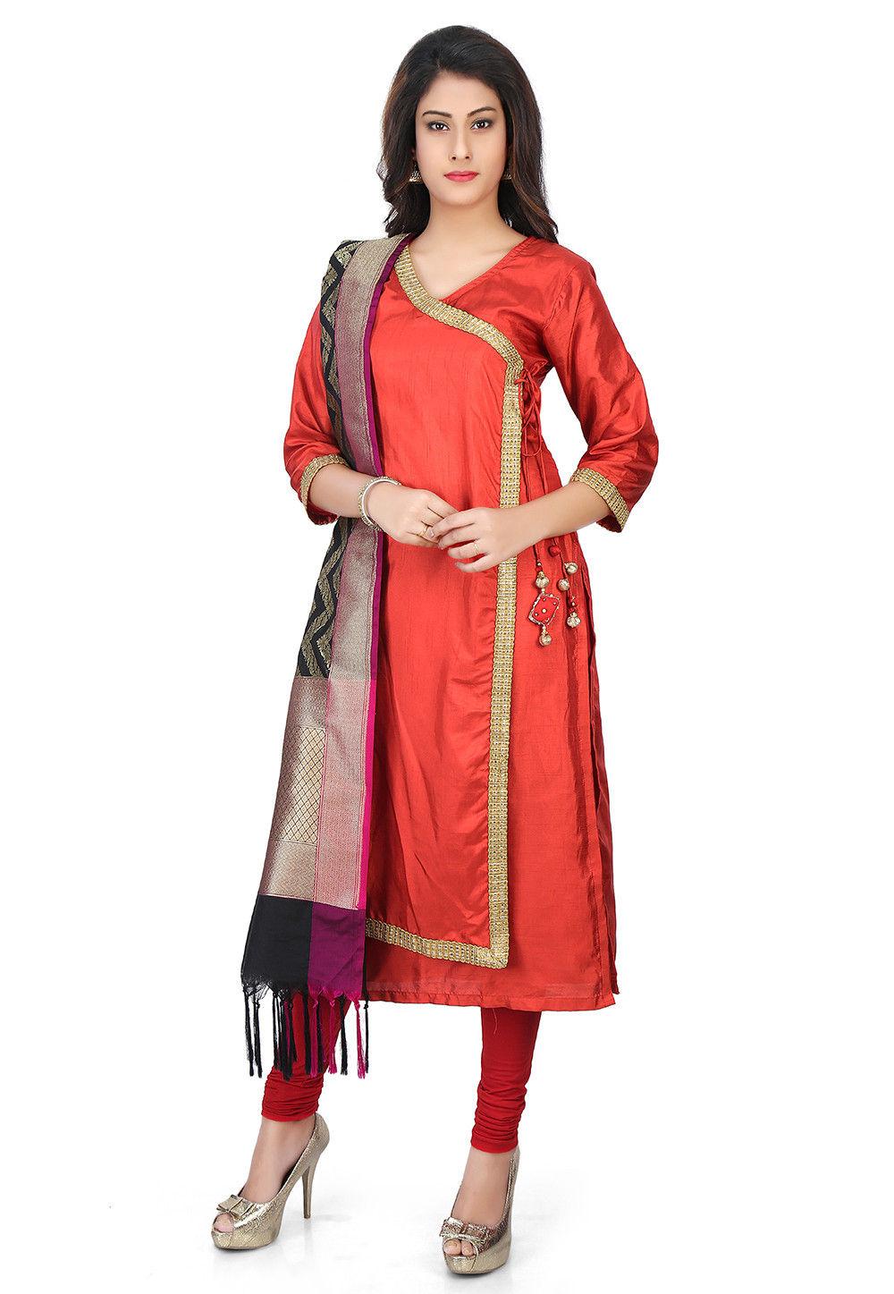 Banarasi Silk Angrakha Style Suit with Pure Silk Dupatta in Rust ...
