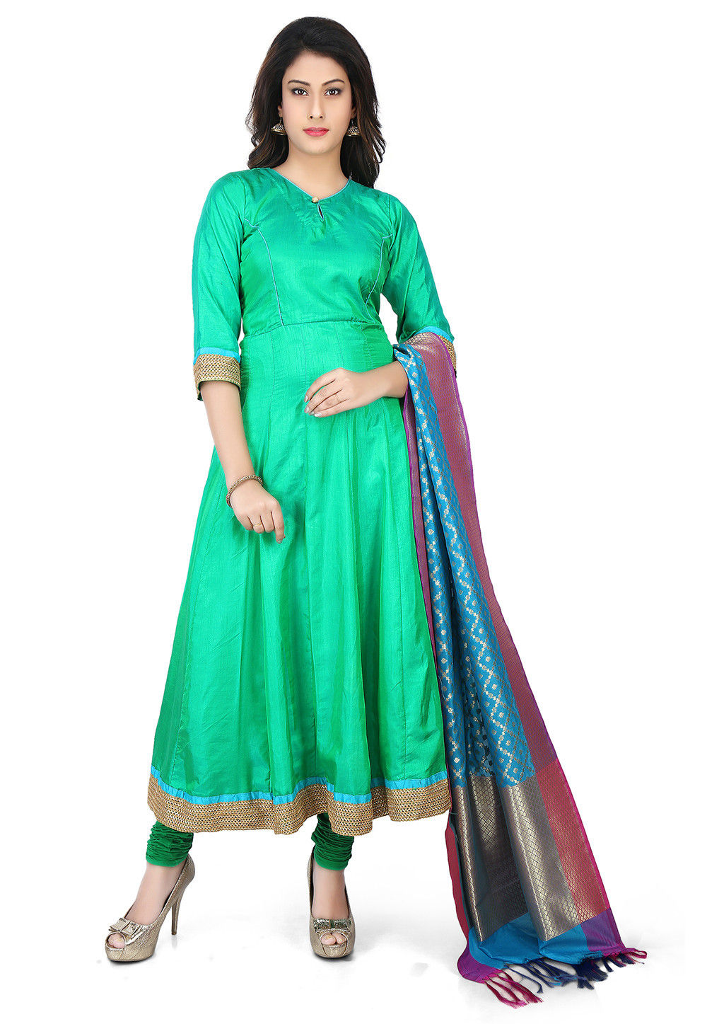 Banarasi Silk Anarkali Suit in Green