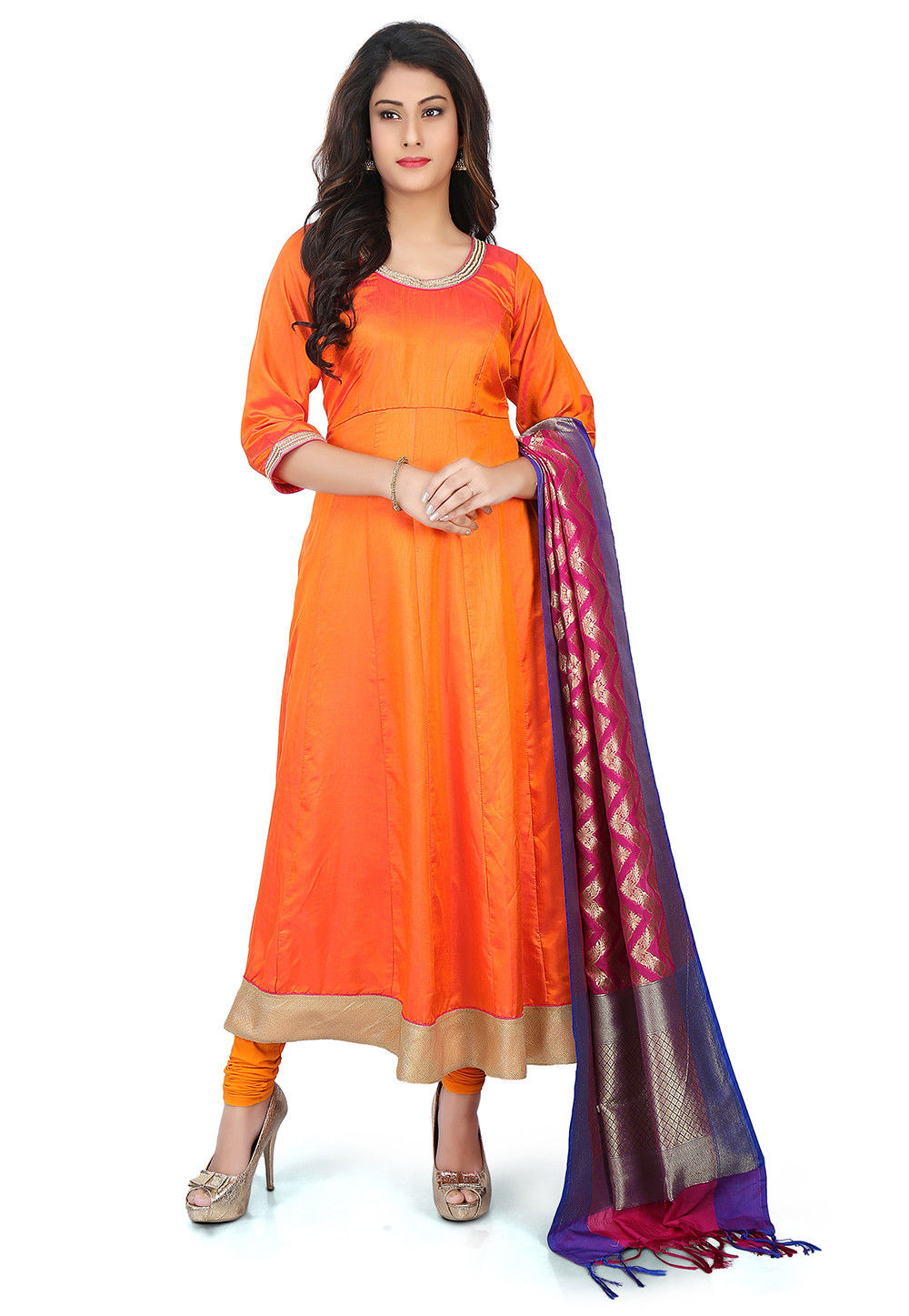 ebcd563ec0 Banarasi Silk Anarkali Suit with Pure Silk Dupatta in Orange : KJN2076