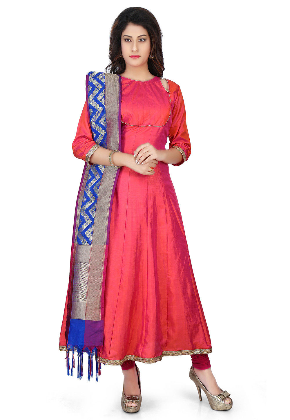 Banarasi Silk Anarkali Suit in Coral