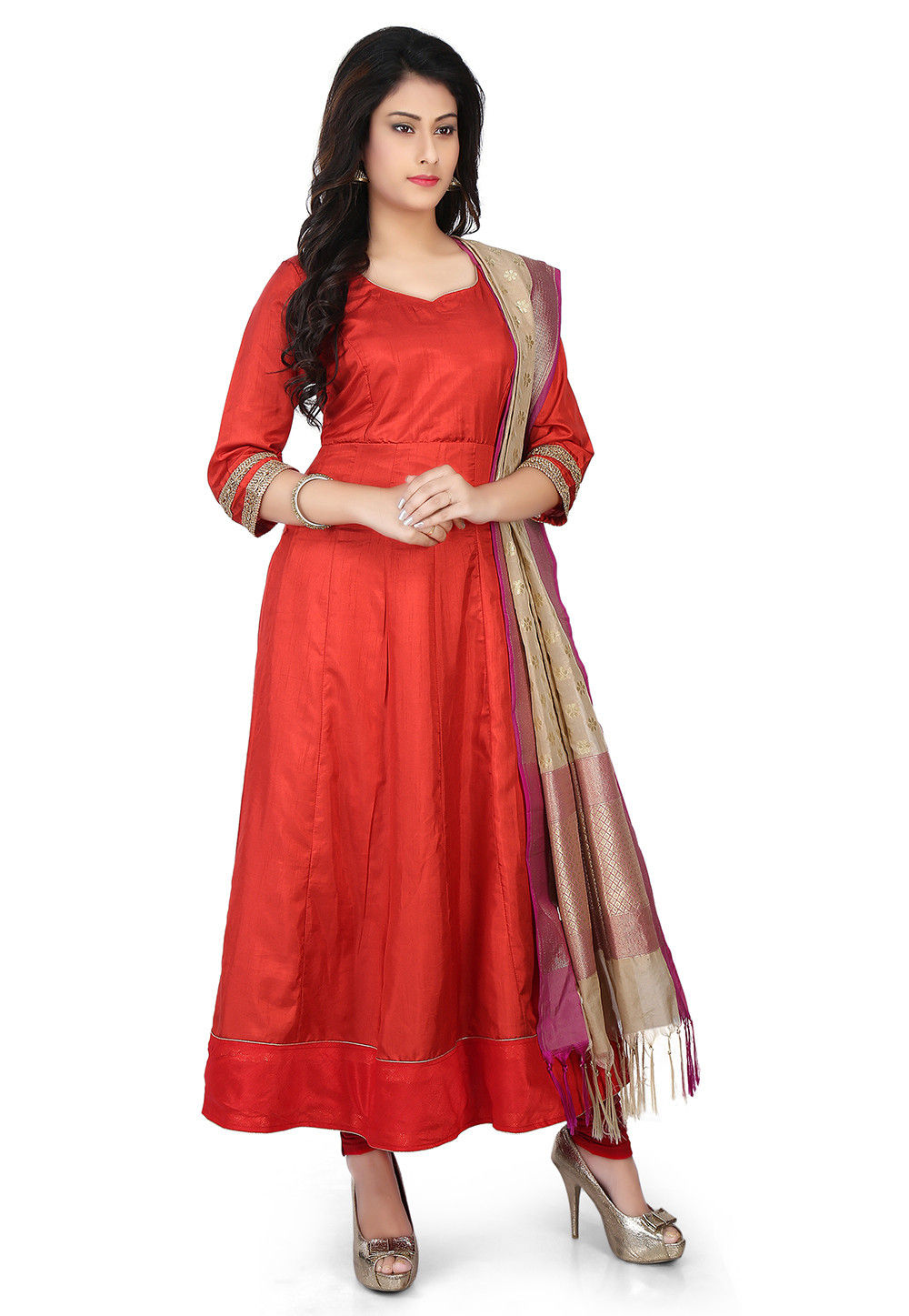 Banarasi Silk Anarkali Suit in Red