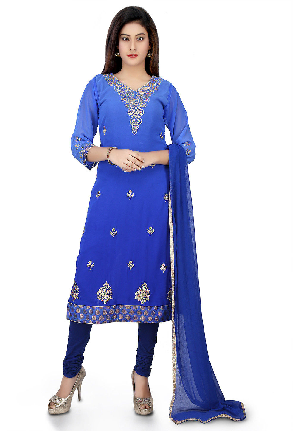 Embroidered Georgette Straight Suit in Blue Ombre