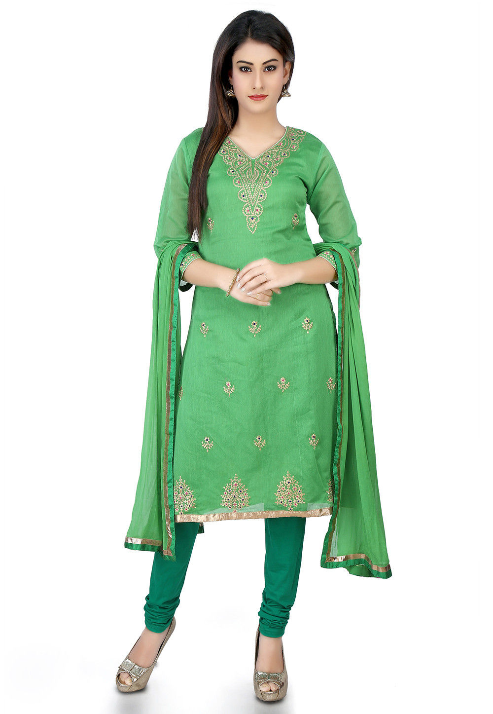 Embroidered Chanderi Cotton Straight Suit in Light Green