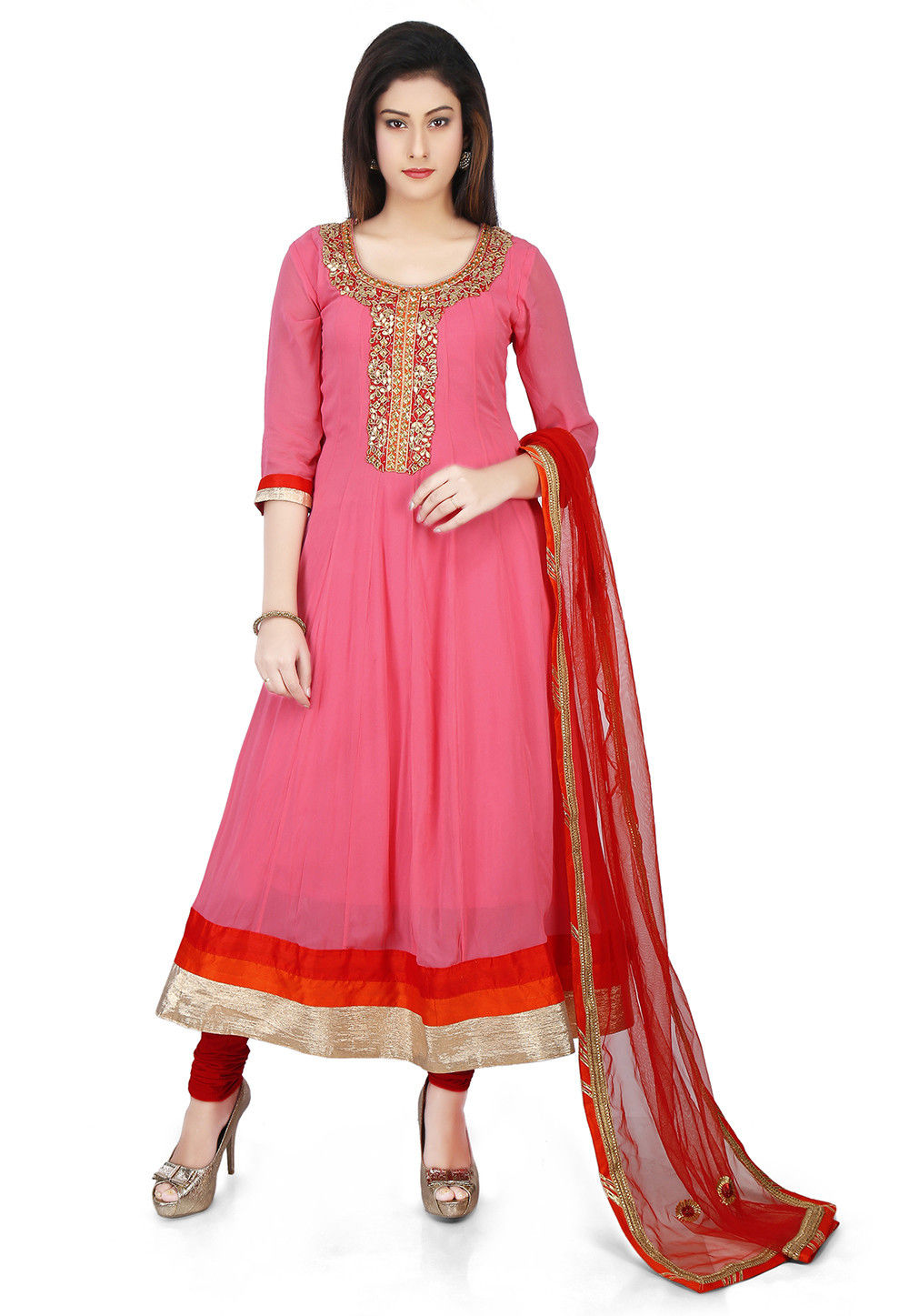 Embroidered Georgette Anarkali Suit in Old Rose
