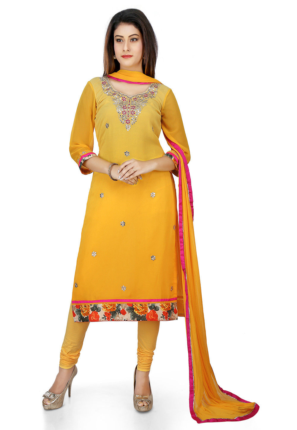 Embroidered Georgette Straight Suit in Yellow Ombre