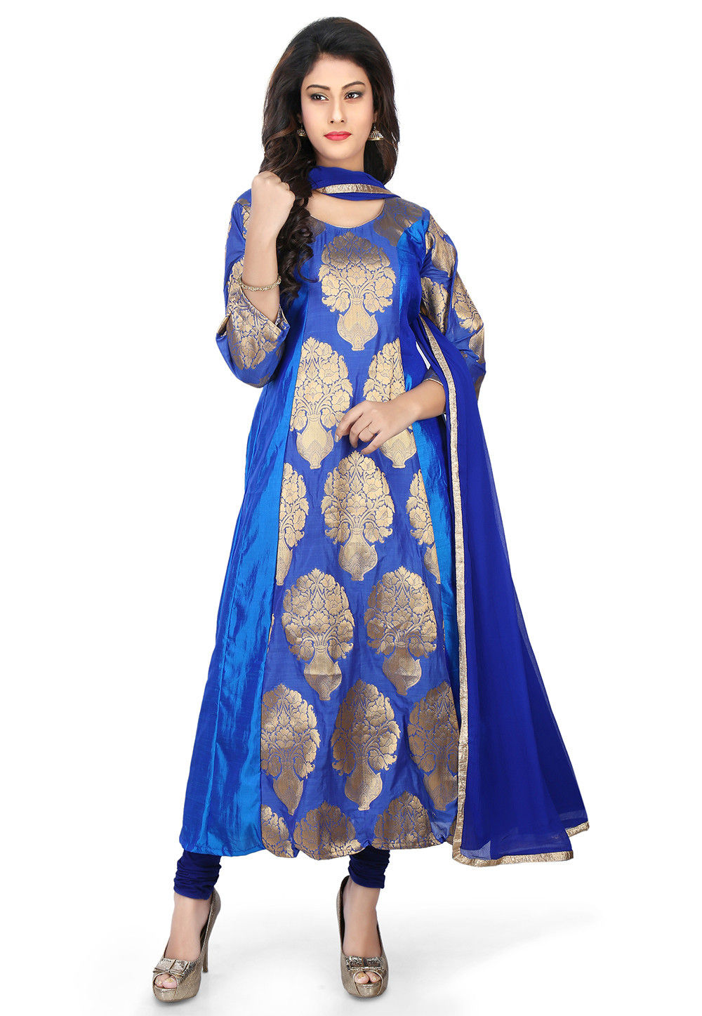 Woven Banarasi Silk Anarkali Suit in Royal Blue