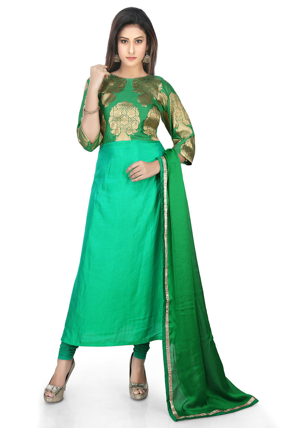 Woven Banarasi Silk A Line Suit in Green
