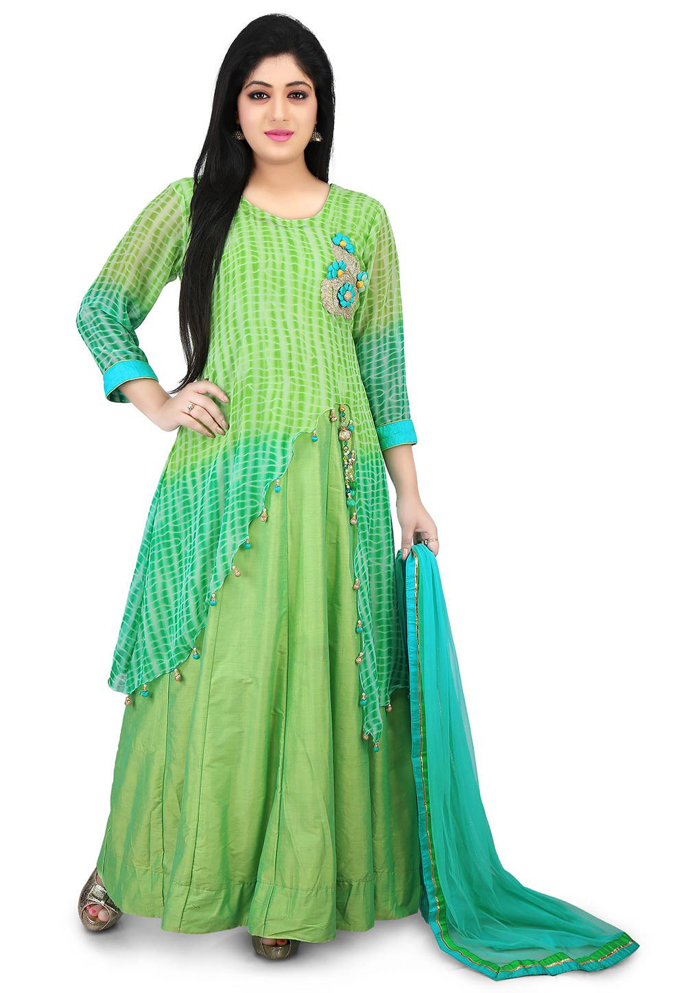 Shibori Dyed Georgette Abaya Style Suit in Green