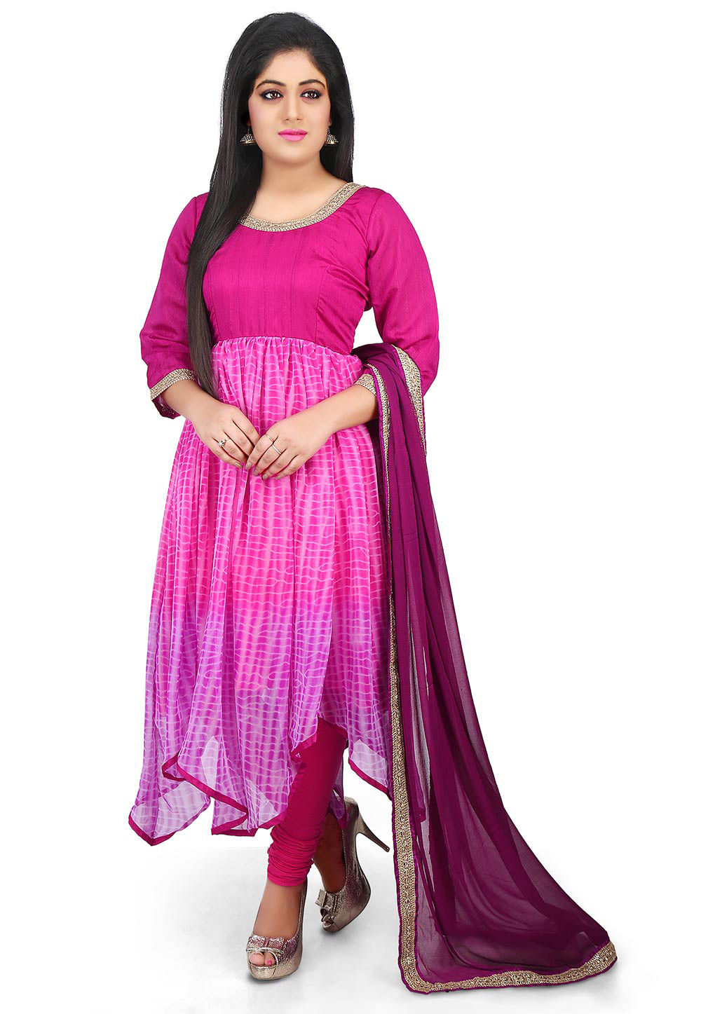 Shibori Dyed Georgette Asymmetric Suit in Fuchsia