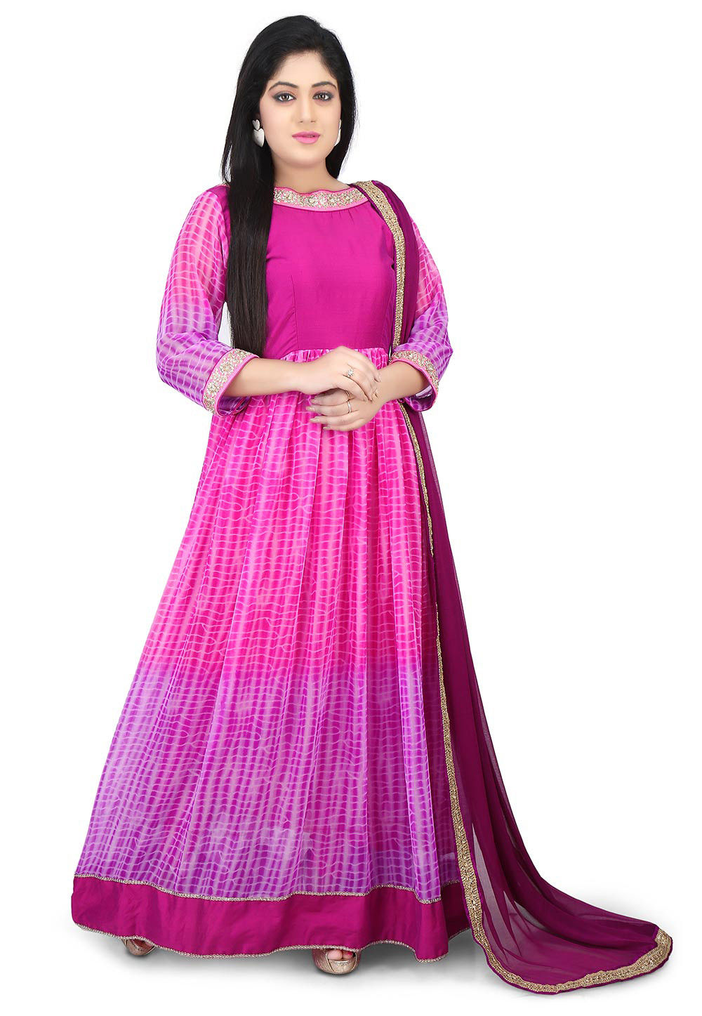 Shibori Dyed Georgette Abaya Style Suit in Pink and Purple