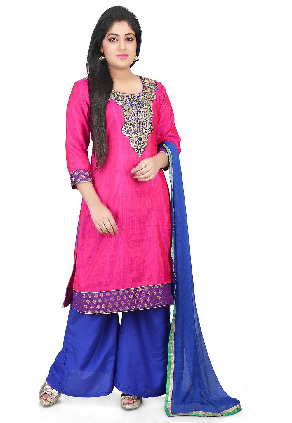 Gota Patti Bhagalpuri Silk Straight Suit in Fuchsia
