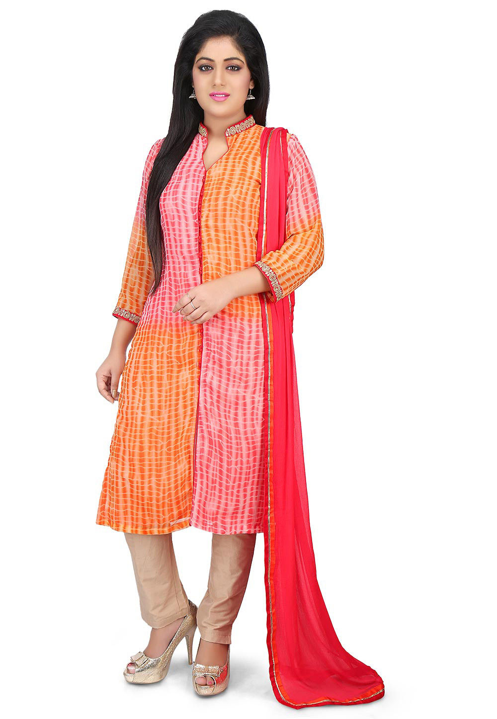 Shibori Dyed Georgette Pakistani Suit in Orange and Peach