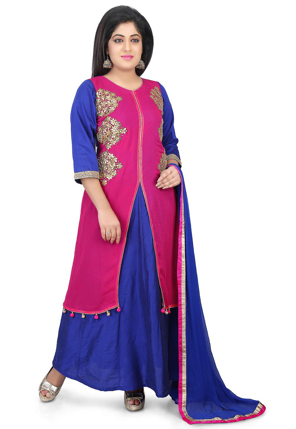 Gota Patti Georgette Abaya Style Suit in Fuchsia and Royal Blue