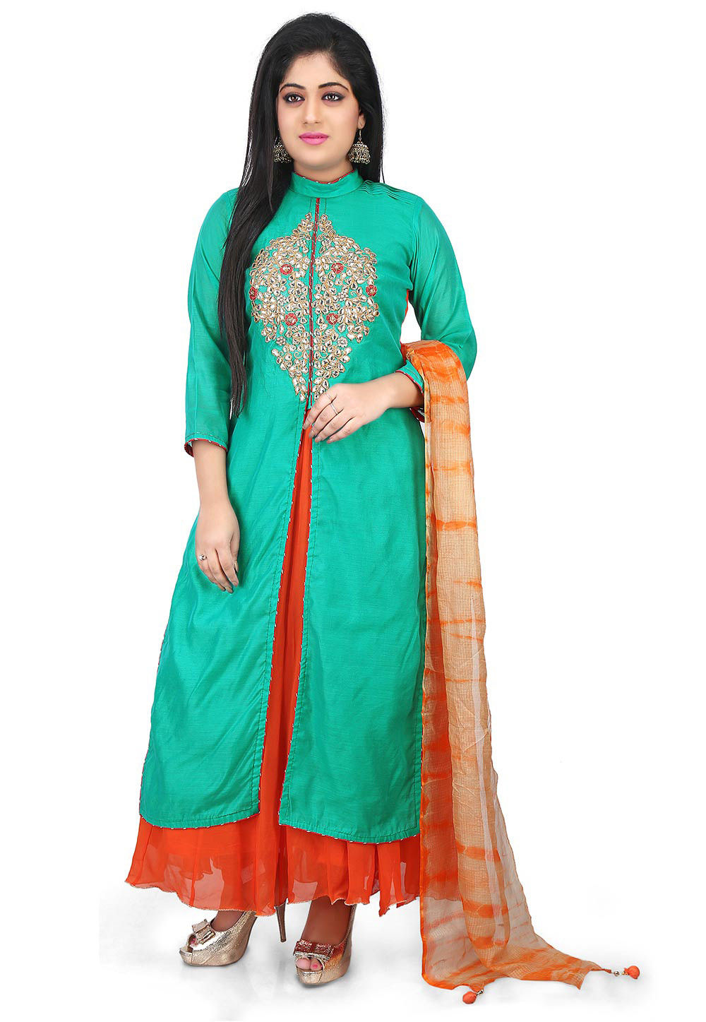 Gota Patti Chanderi Abaya Style Suit in Teal Green and Orange