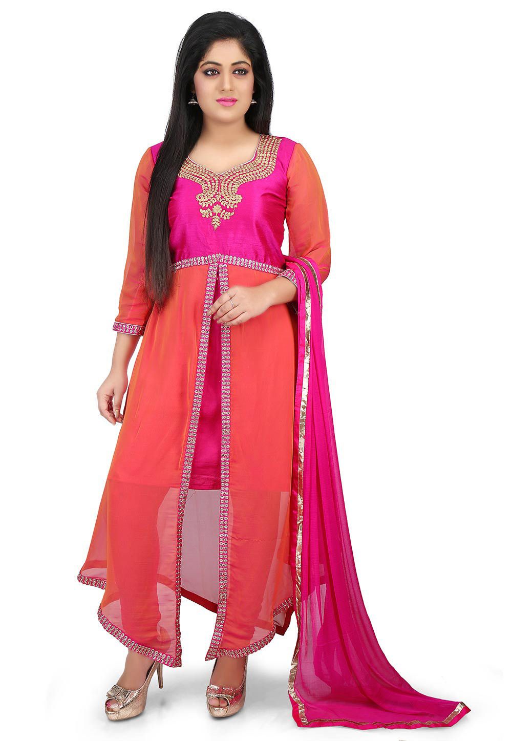 Embroidered Georgette Asymmetric Suit in Peach and Fuchsia