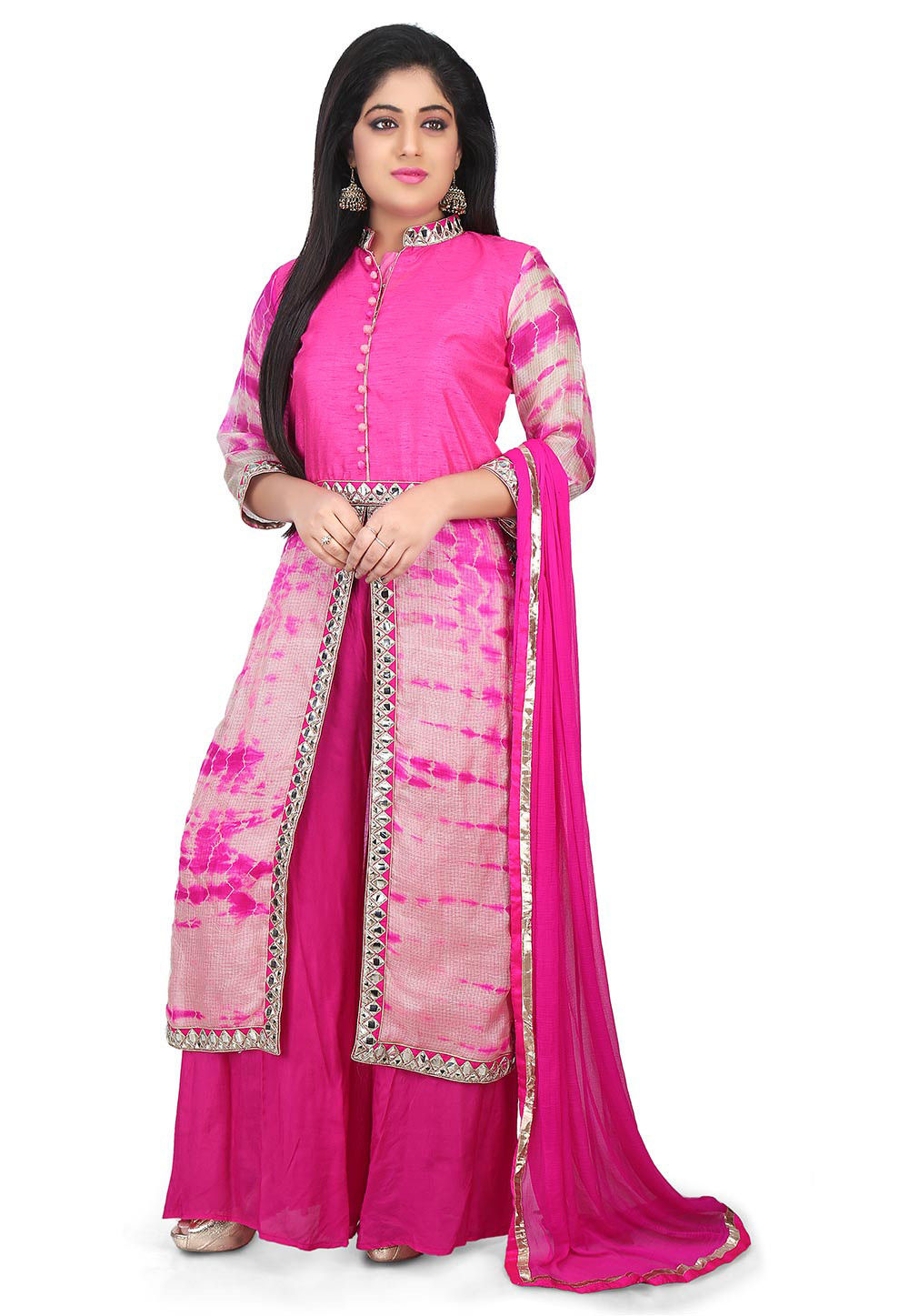 Pure Kota Silk and Dupion Silk Pakistani Suit in Pink