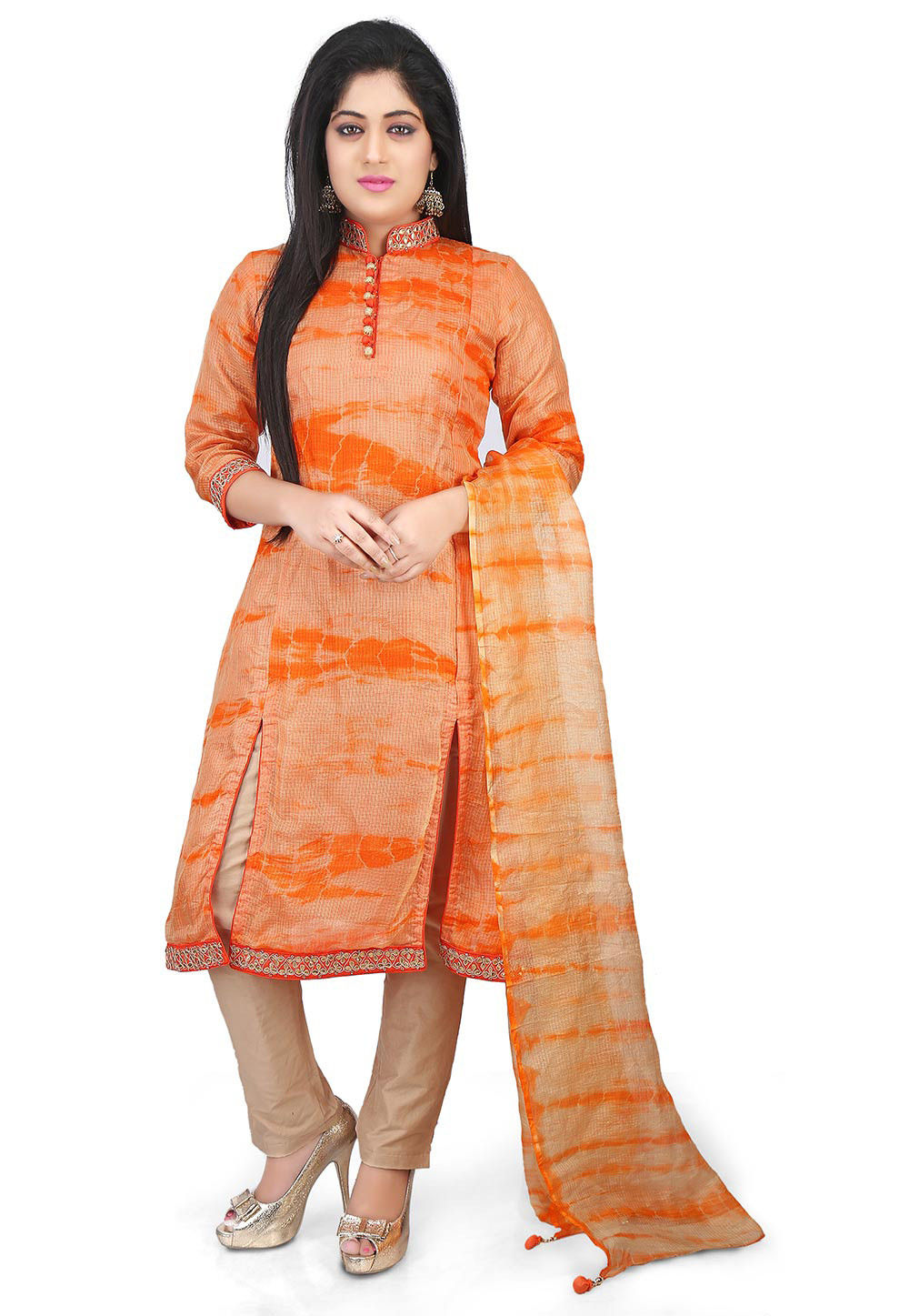 Pure Kota Silk Pakistani Suit in Orange