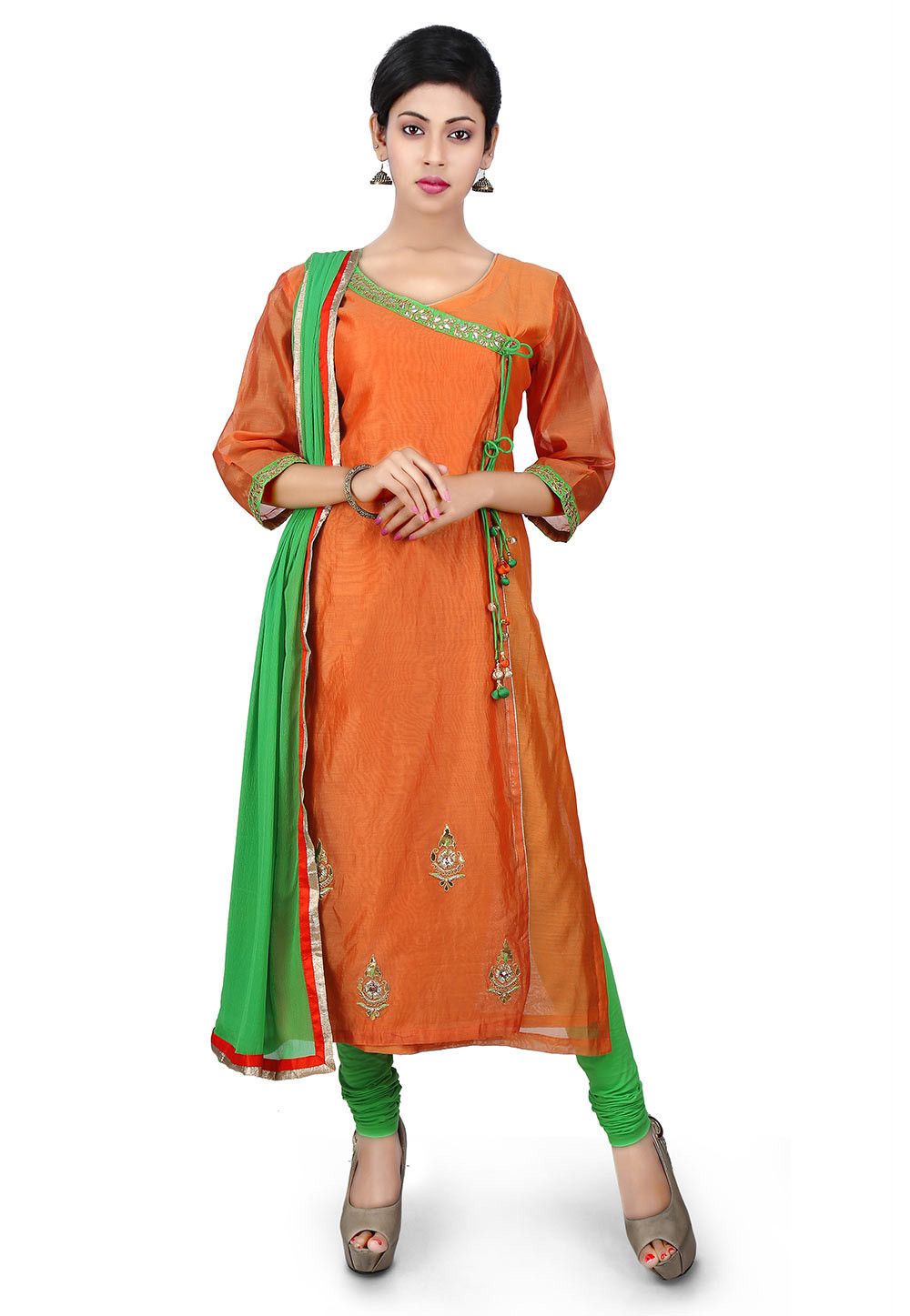 Gota Patti Cotton Chanderi Angrakha Style Suit in Orange