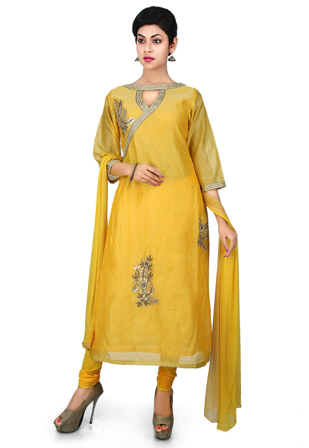 Gota Patti Embroidered Cotton Chanderi Straight Suit in Yellow