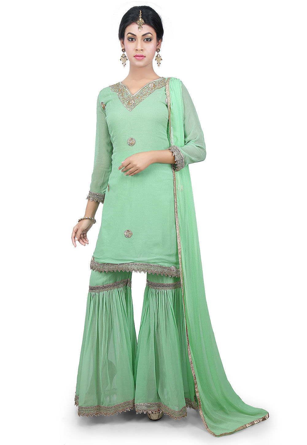 Hand Embroidered Neckline Georgette Pakistani Suit in Green