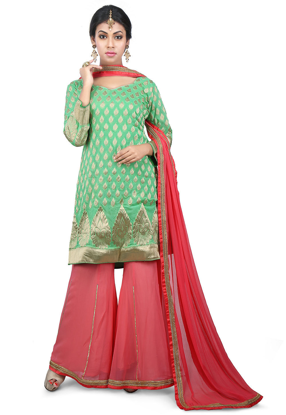 Woven Georgette Pakistani Suit in Green