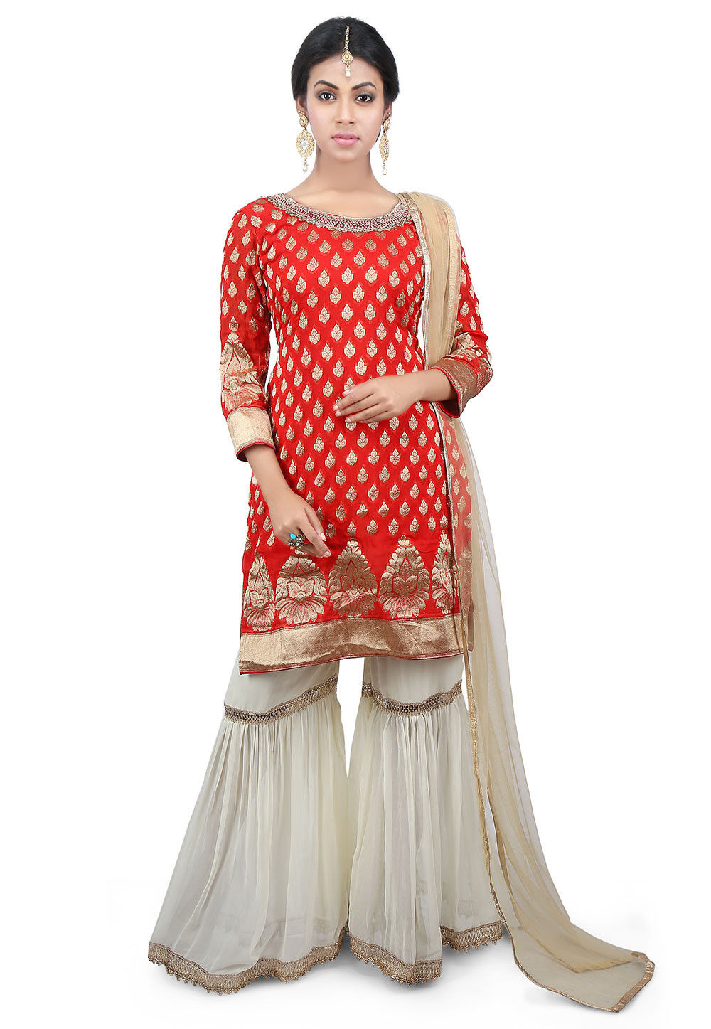 Woven Georgette Pakistani Suit in Red