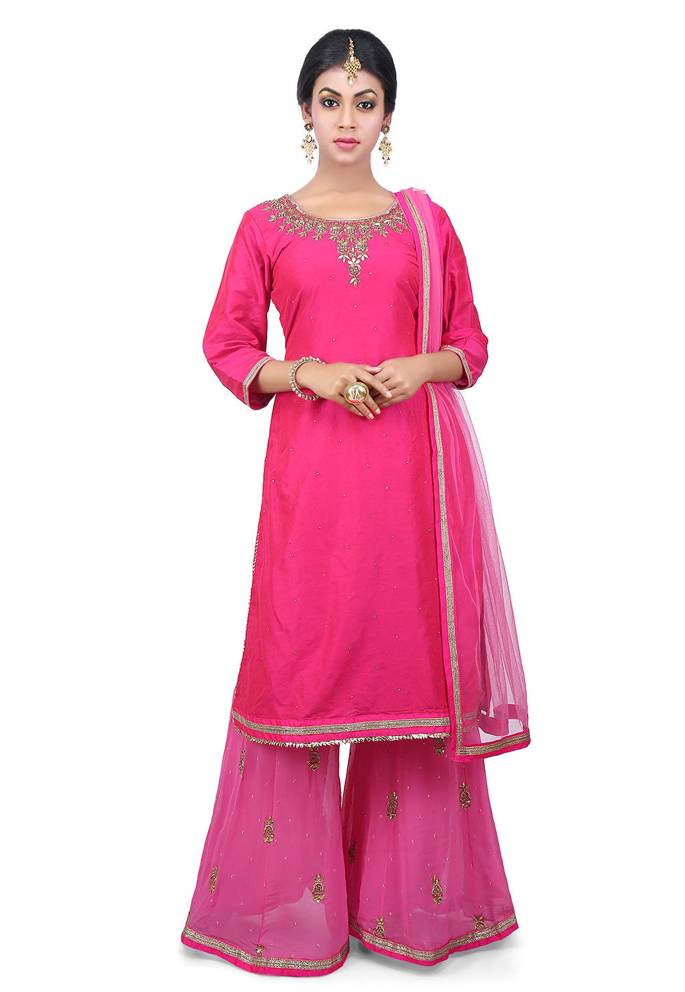 Hand Embroidered Neckline Cotton Silk Pakistani Suit in Fuchsia