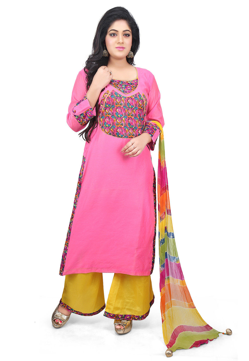 Printed Chanderi Cotton Pakistani Suit in Pink