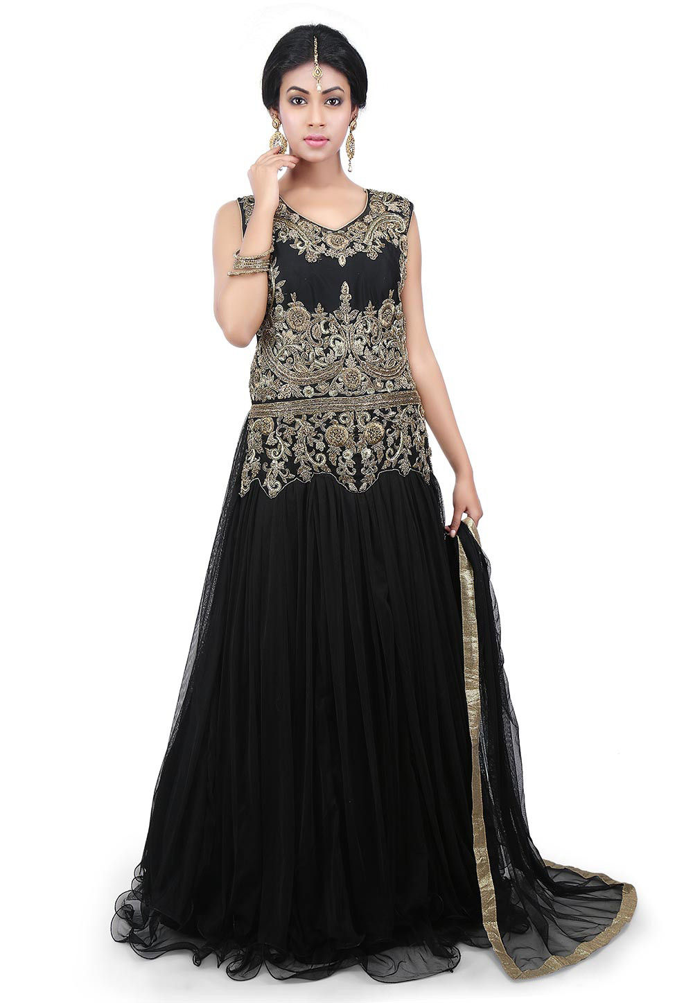 Hand Embroidered Net Abaya Style Suit in Black