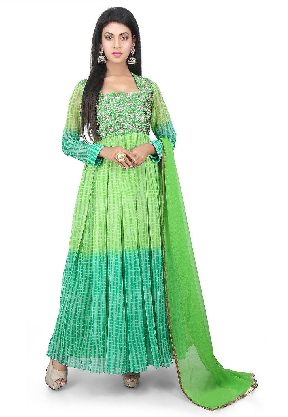Embroidered Georgette Abaya Style Suit in Ombre Green