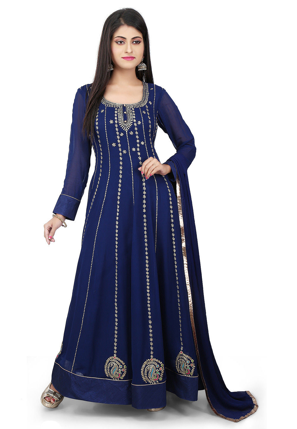 Embroidered Georgette Abaya Style Suit in Blue