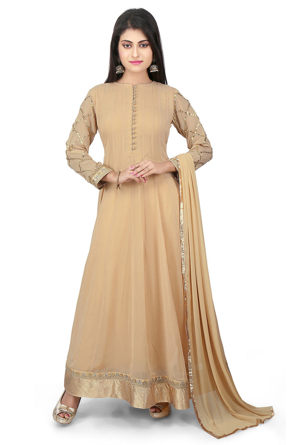 Plain Georgette Abaya Style Suit in Beige