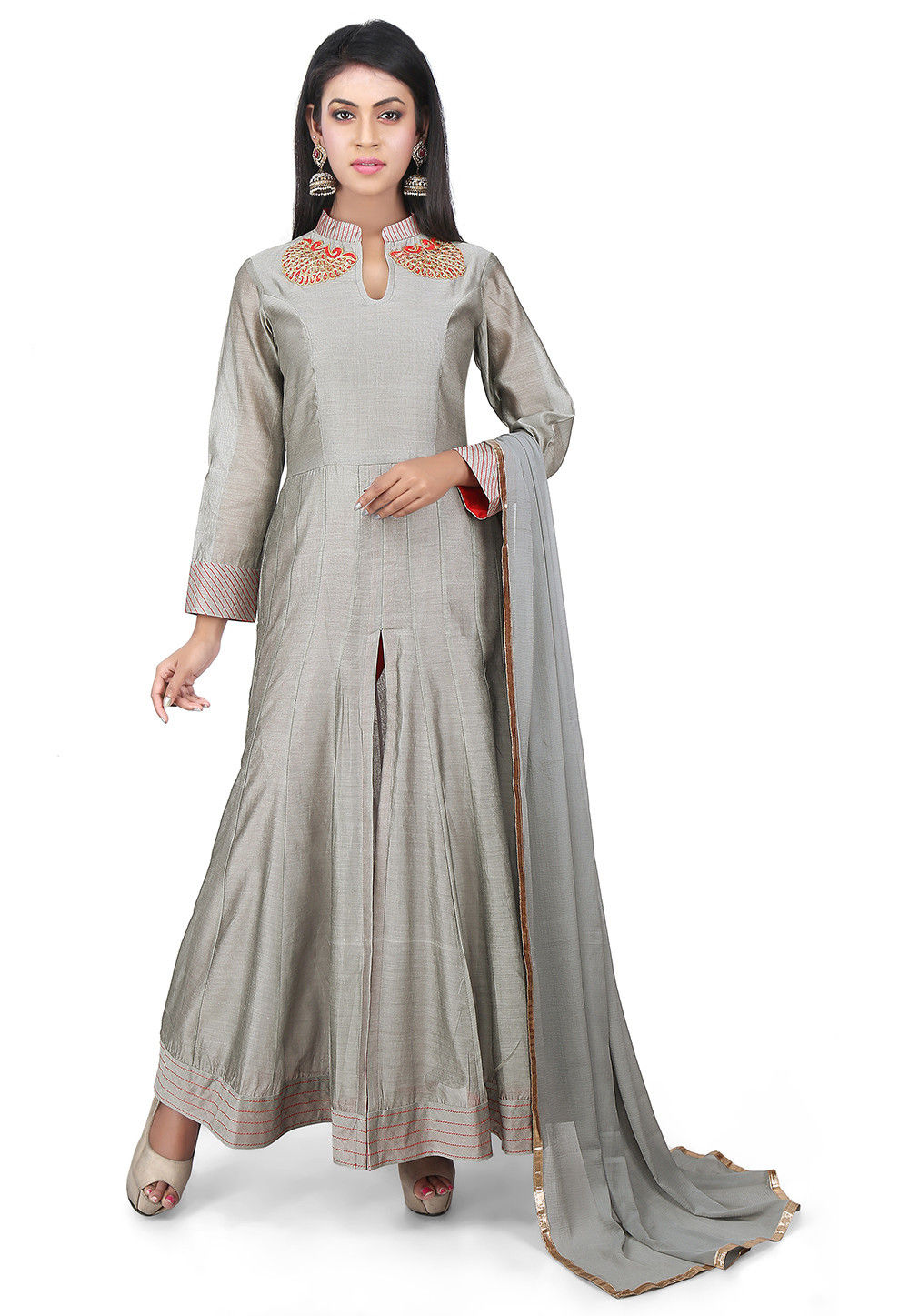 Embroidered Chanderi Cotton Anarkali Suit in Grey
