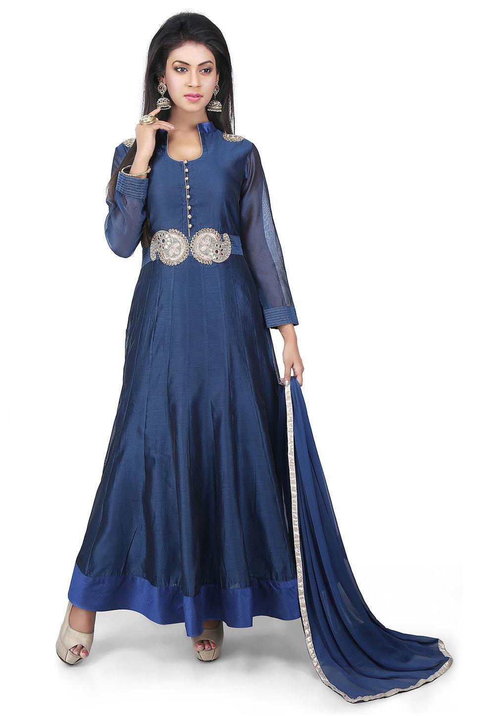 Embroidered Chanderi Cotton Anarkali Suit in Dark Blue