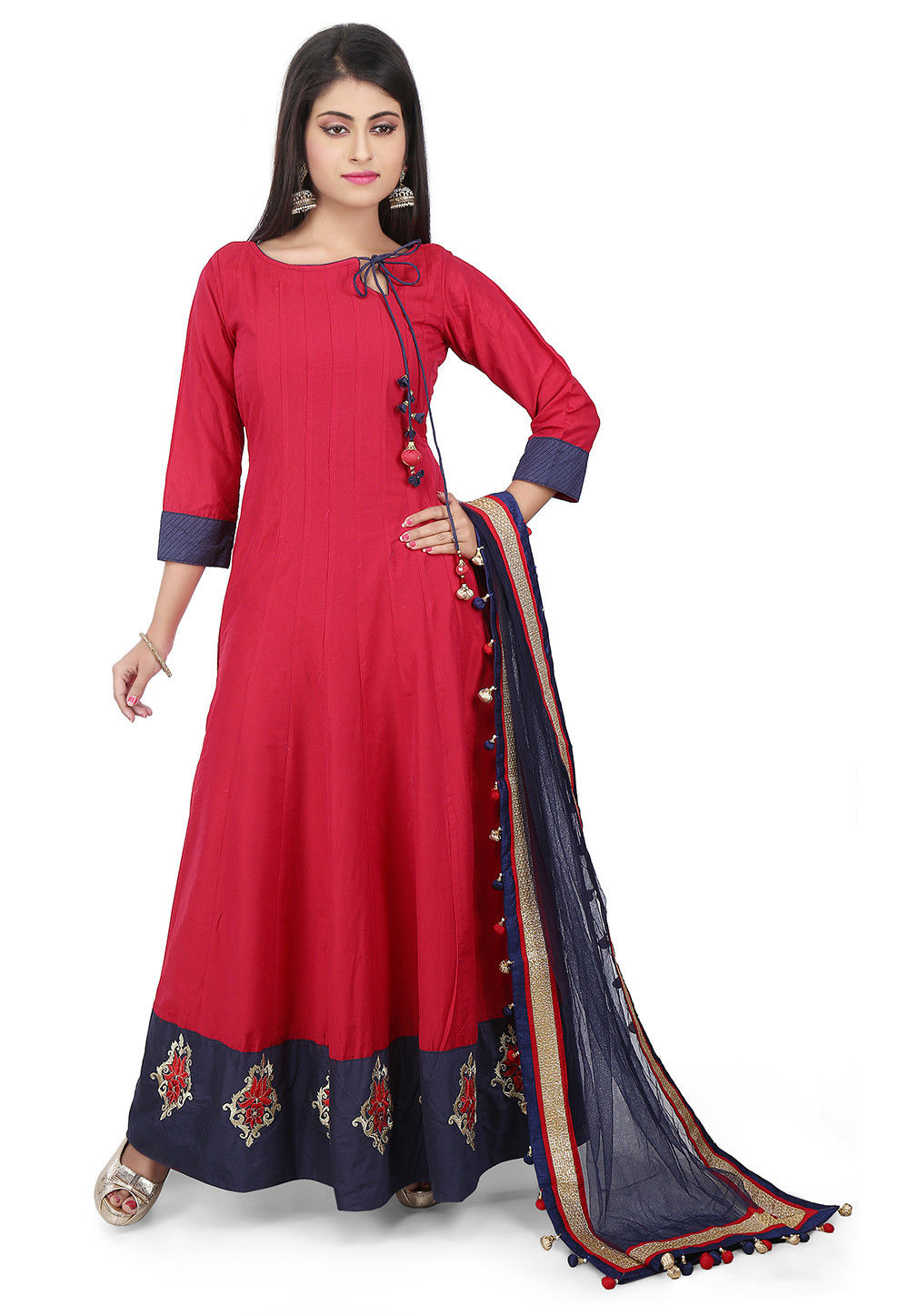 Plain Cotton Silk Abaya Style Suit in Red